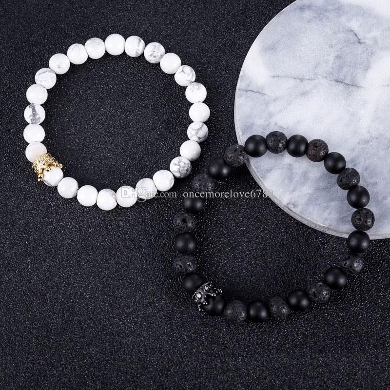 Nuova coppia di pietre vulcaniche Bracciali Corona Chakra di energia naturale Perline Bracciali Fili Accessori gioielli Regalo dell'amante Spedizione gratuita