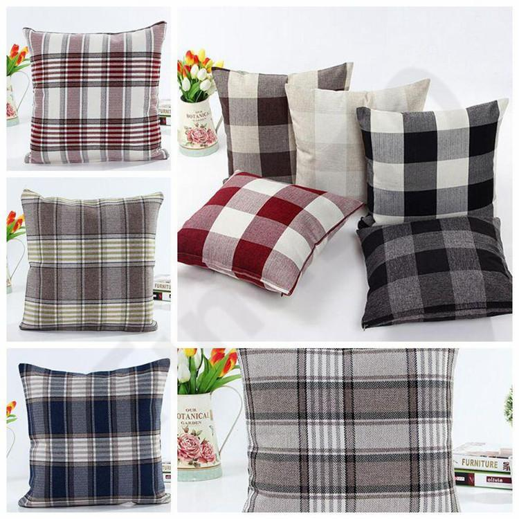 10 Styles Grid Square Pillow Case Double Sided Linen Lattice Pillow