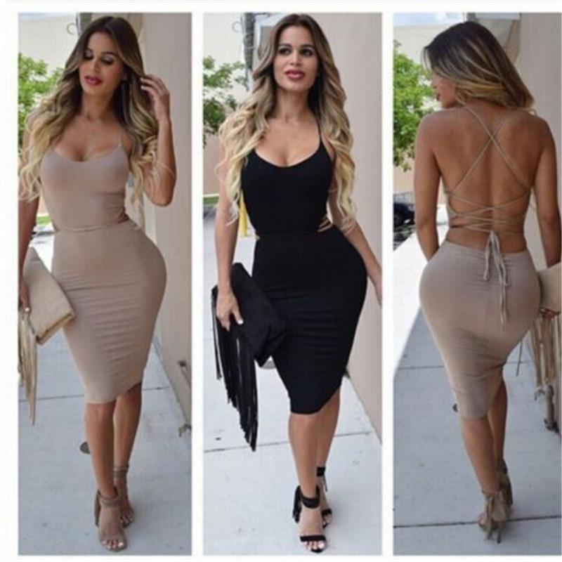 d62038b6da374 2019 Sexy Women Low Cut Package Hip Dress Bodycon Bandage Backless Hot  Dress Summer Sleeveless Clubwear Slim Night Party Mini From Vanilla10
