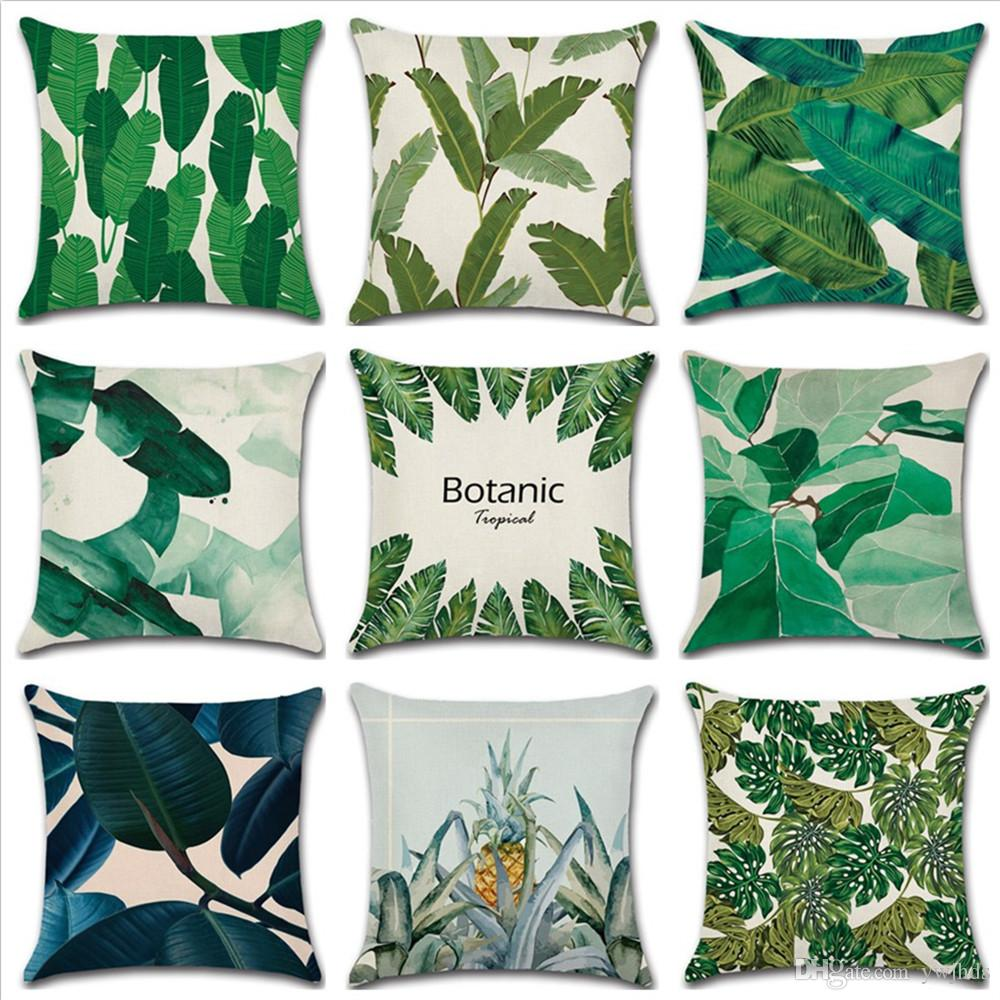 Großhandel Neue Tropische Pflanze Grünen Blatt Thema Kissen
