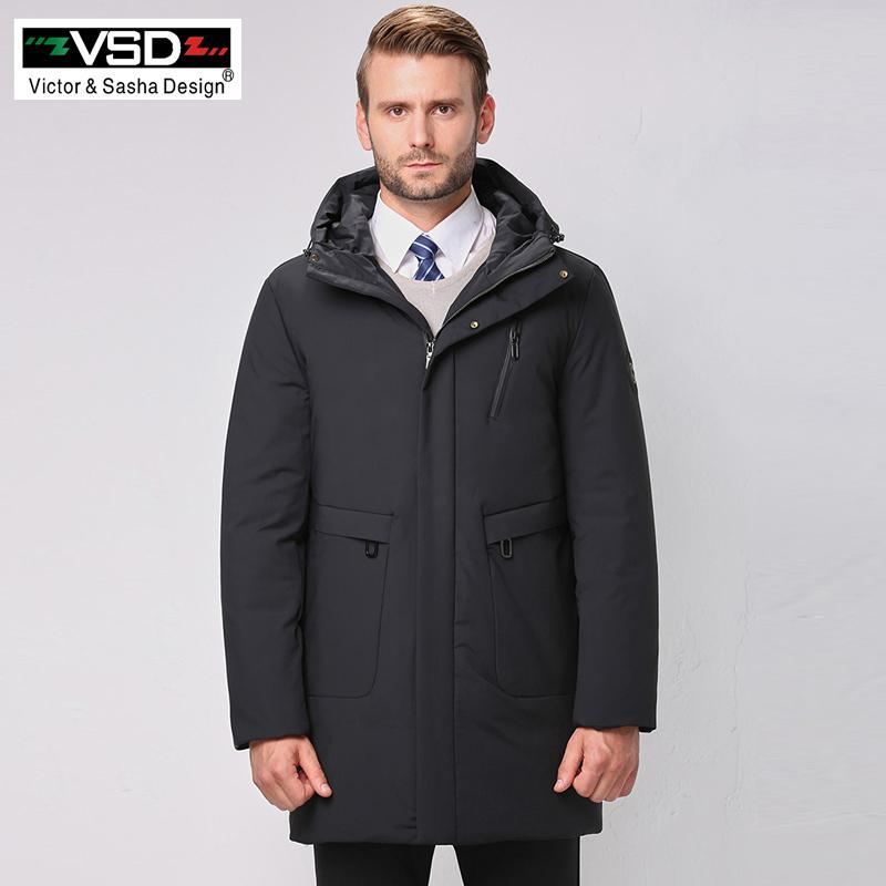 e7fa4effeed5 2019 VSD New Top Quality Warm Jacket S Fashion Winter Duck Down Jacket  Men S Clothing Casual Thick Medium Long Coat Male Parkas VS585 From  Linglon
