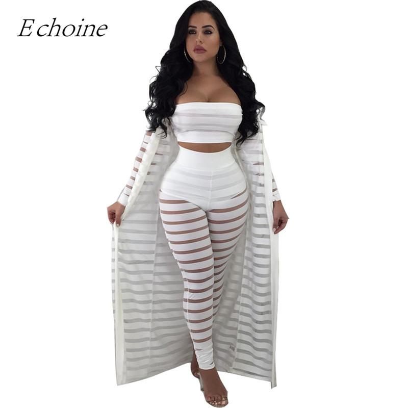 a549b877df454 2019 2018 Sexy Hollow Out Set Womens Strapless Crop Top Sheer Stripe Mesh  Pants Long Cardigan Set Plus Size Club Outfits From Lbdapparel