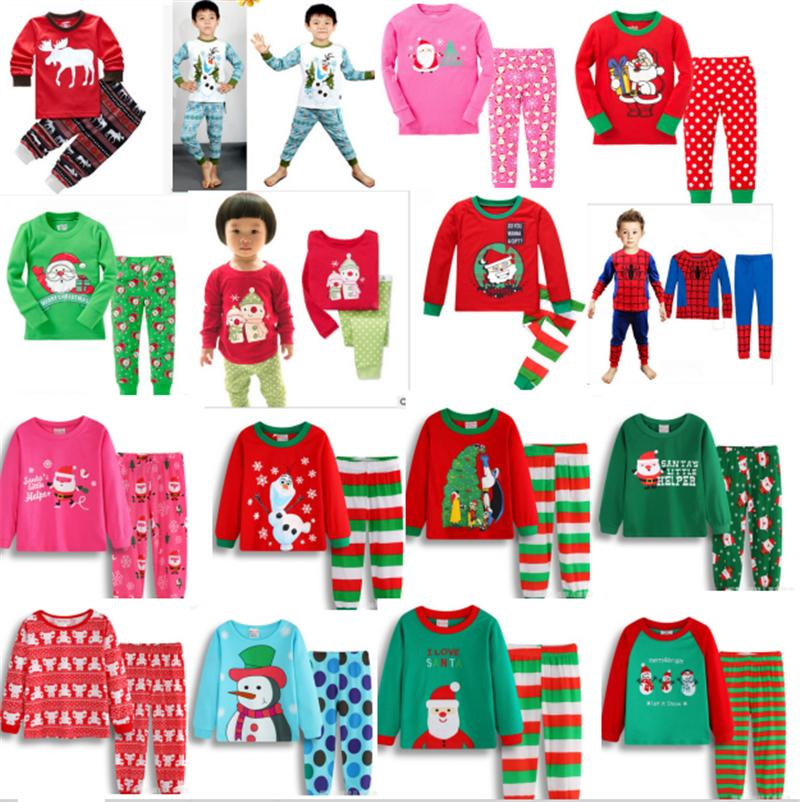 kids christmas pajamas set xmas santas little helper girl boys cotton pyjama snowman cartoon sleepwear children superhero nightwear 2018 cat pajamas for