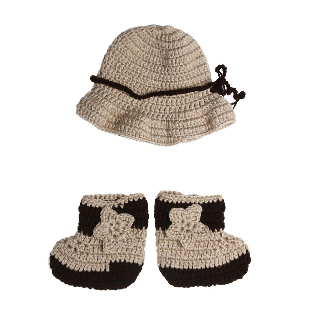 2017 Winter Newborn Baby Infant Photography Props Crochet Knit Cowboy Costume Hat+Shoes 2pcs Baby Handmade Outfits Set 0-4M