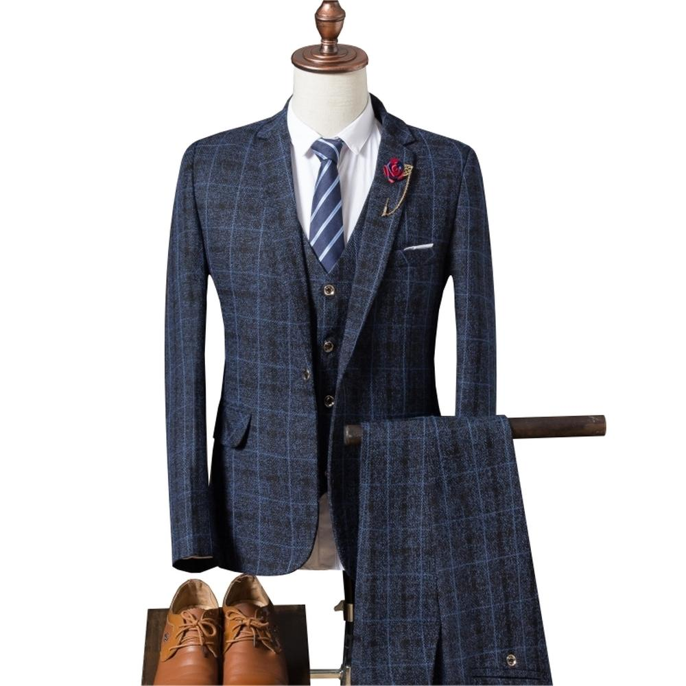 48ae8c5f97 Men s Wedding Plaid Suit 2018 Spring Autumn Slim Fit Wedding Male ...