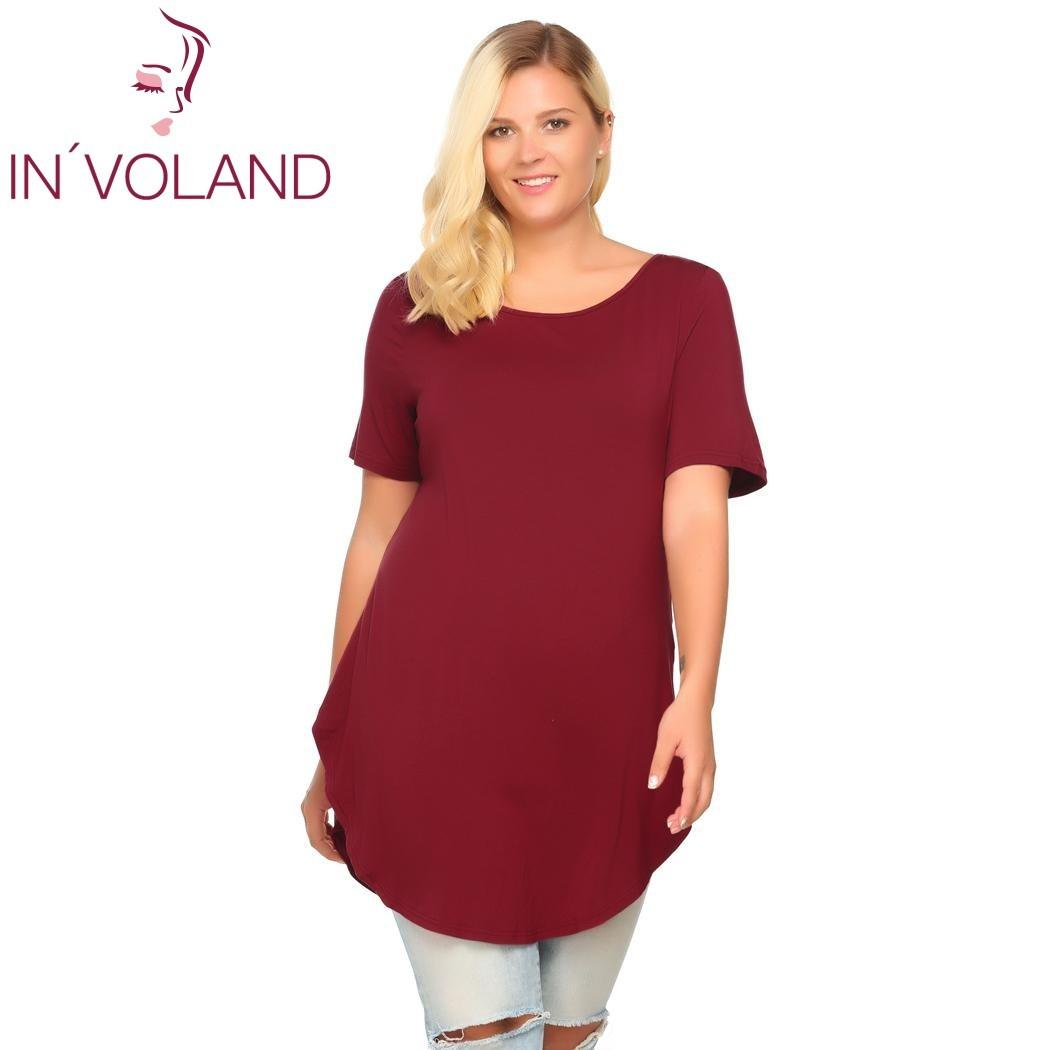 fc833a1a1df IN VOLAND Casual T Shirt Women Plus Size Summer Autumn Short Sleeve Solid  Loose Pullovers Long Curved Hem Tshirt Tops Big Sized Y1891307 Design Your  Own T ...
