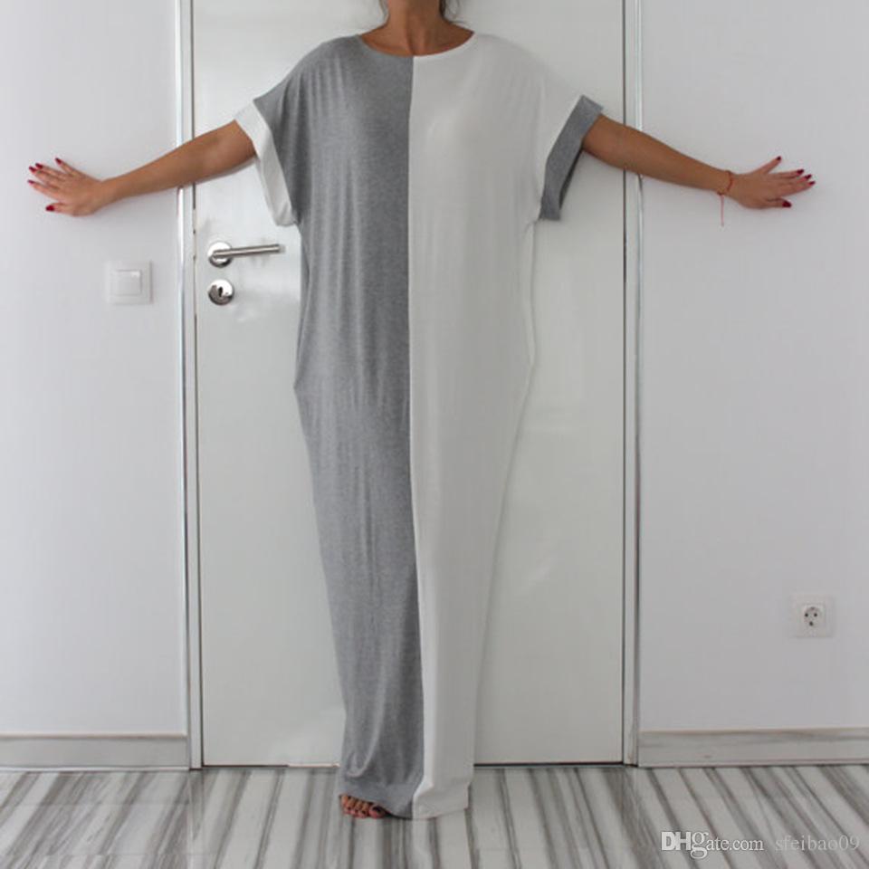 المرأة ماكسي اللباس الجيب المرقعة طويل فضفاض العرقية 1/2 كم عارضة مطاطا زائد الحجم m-2xl الصيف موضة الملابس