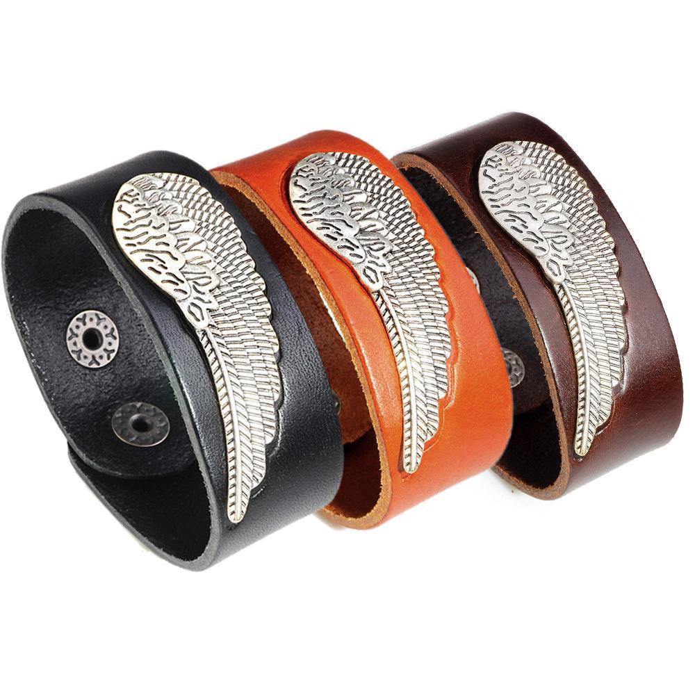 2019 2018 Fashion Punk Leather Bracelets Alloy Wing