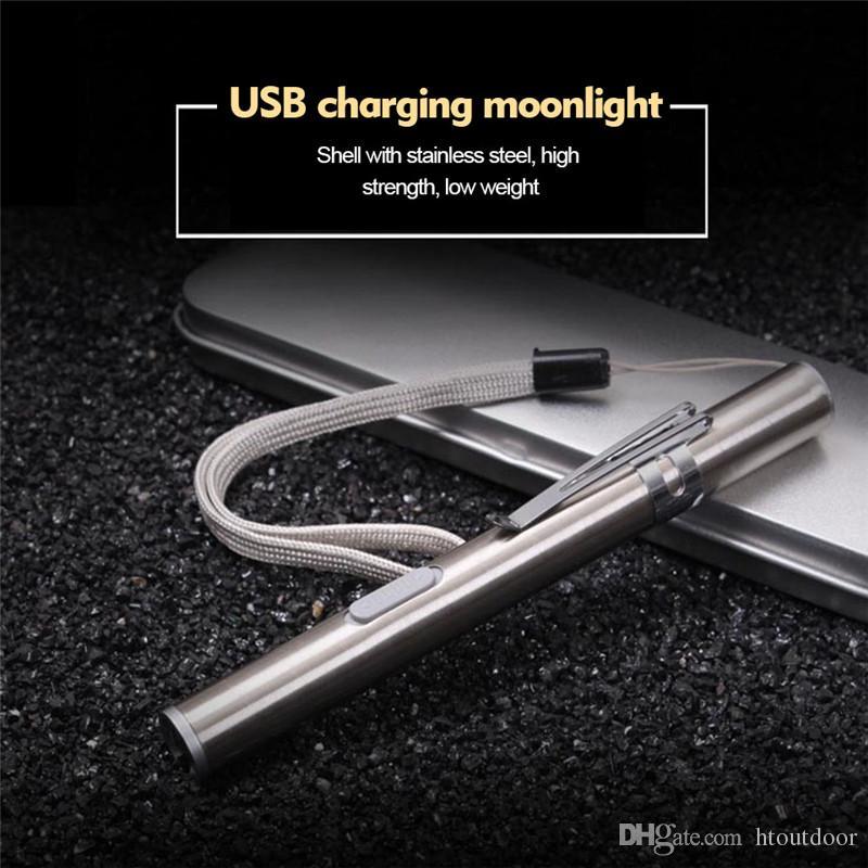 Branco frio Branco Quente USB Recarregável Lanterna Mini Liga De Alumínio Levou Lâmpadas Caneta Médica Tocha Em Forma de Lua Redonda Luzes