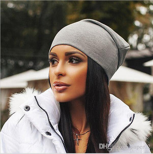 95e368ee36969 Brand New Women Winter Beanies Cotton Blended Beanie Slouch Warm Hat  Festival Unisex Mens Ladies Cap Solid Color Bonnet Hats Online with   0.79 Piece on ...