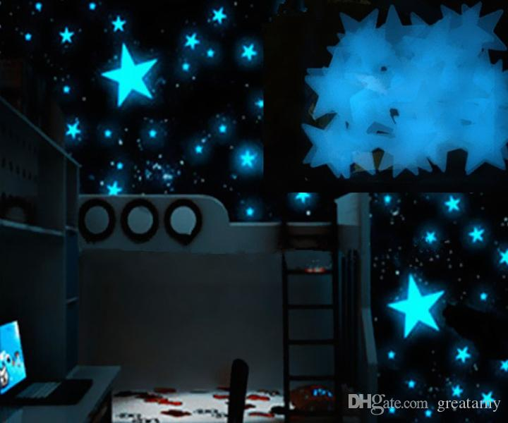 hot style plastic wall stickers luminous stars glow in the dark blue 3cm room decal wall decor
