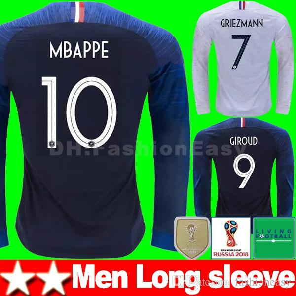 2 Two Stars 2018 World Cup Long Sleeve Maillot De Foot Equipe ... 102978b36