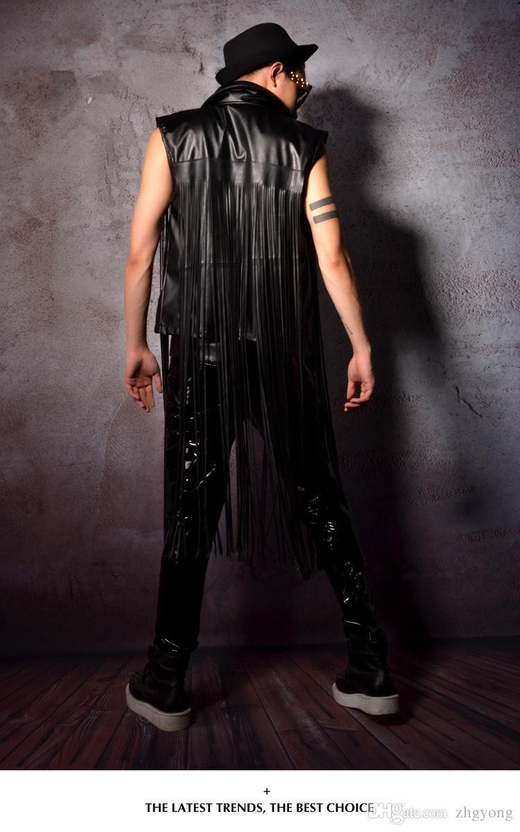 Marée mode mâle veste manteau PU cuir noir glands gilet vêtements de plein air stade porter hommes de scène performance vêtements discothèque bar DJ DS costumes