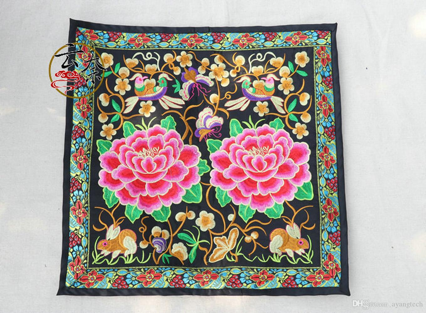 Embroider Chinese Style Bolster Cover Cushion Flower Wooden Beaded