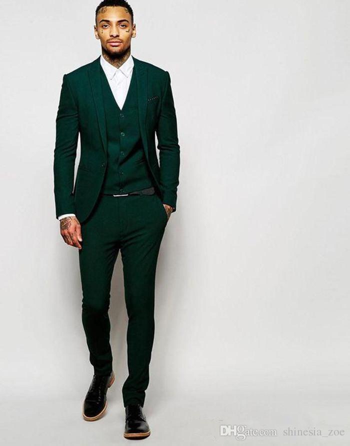 Último Verde Oscuro Novio Smokings Padrinos de boda por encargo Mejor Hombre Trajes Mens Wedding Party Suits Jacket + Pants + Vest