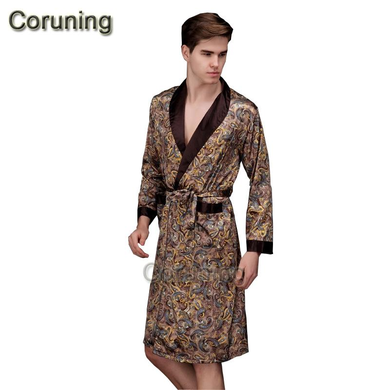 2018 1429 2017 Spring Summer Autumn New Luxury Print Silk Robe Male ...