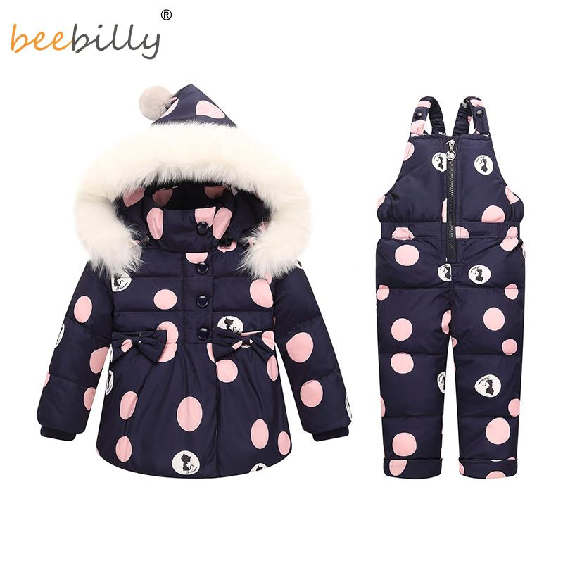 3feb8db02 Winter Baby Girls Clothing Sets Warm Children Down Jackets Kids Snowsuit  Baby Ski Suit Girl's Down Jackets Outerwear Coat+Pants