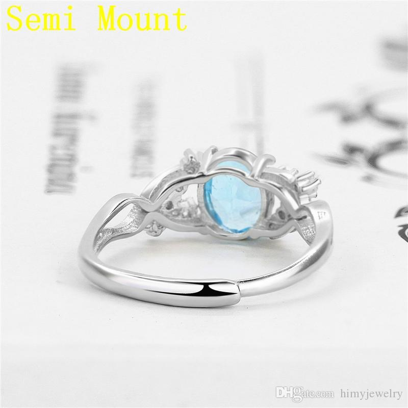 925 Sterling Silver Engagement Wedding Ring for Women 7X8MM OVAL CUT Semi Mount Ring Crystal White Gold Color Unique Fine Jewelry Setting