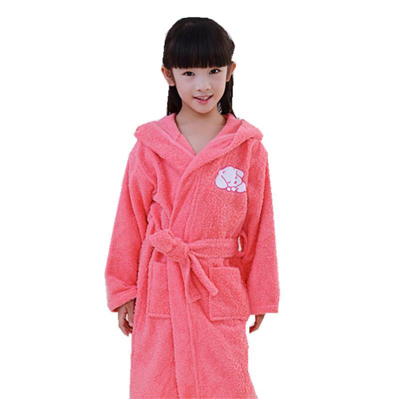 5e8a241b16bc Acquista Accappatoio Bambini Bagno Con Cappuccio Asciugamano In Spugna  Robes Ragazzi Ragazze Rosa Blu Cucciolo Robe Pigiama Ragazze SPA Partito  Sleepwear ...