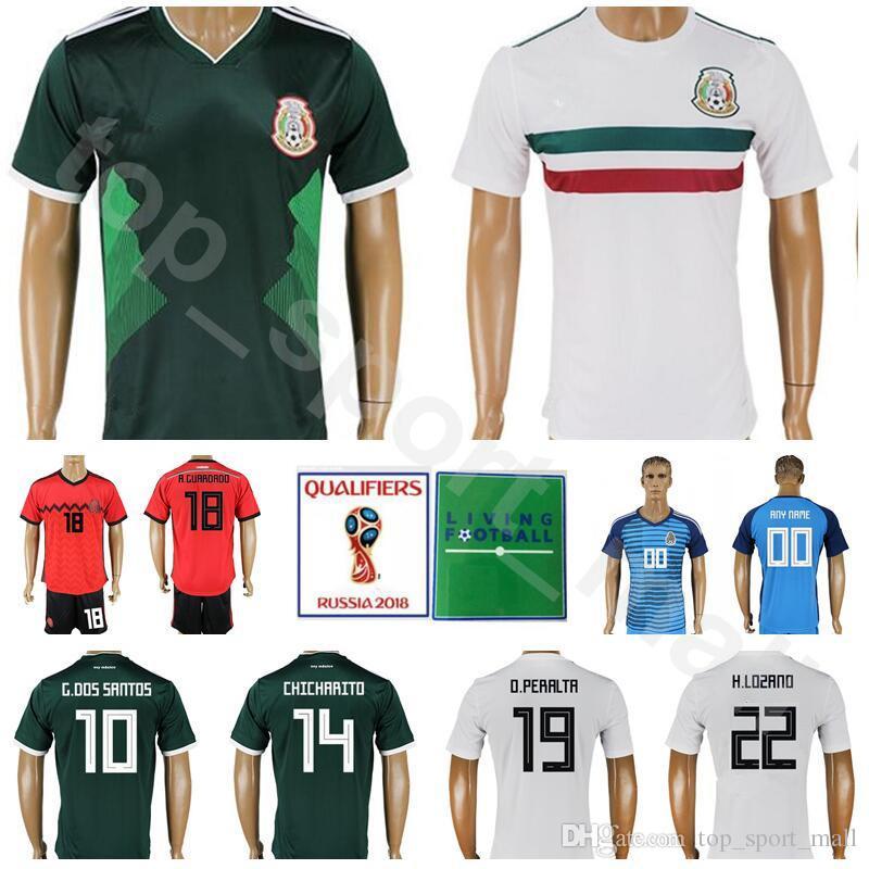 12dc8baa46c 2019 Men Mexico Jersey 2018 World Cup Soccer 22 LOZANO 10 SANTOS 14  CHICHARITO Football Shirt Kits 19 PERALTA 18 GUARDADO Custom Name Number  From ...
