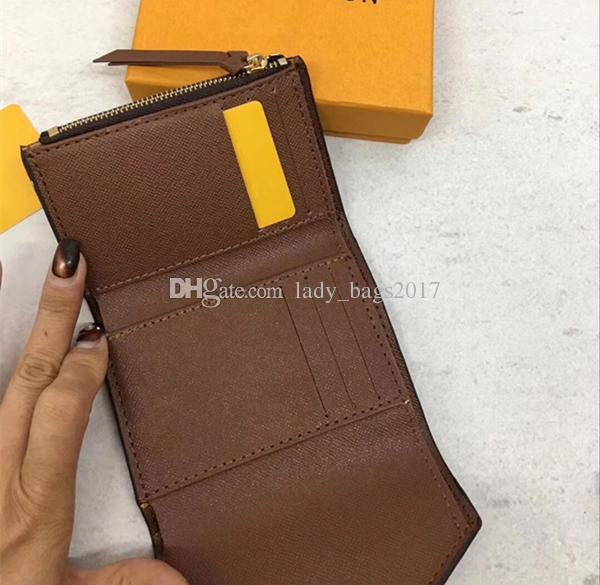 Clássico da marca bolsa das mulheres de alta qualidade de couro impresso mulheres carteira curta doce cor saco de luxo 41938 bolso com zíper Victorine
