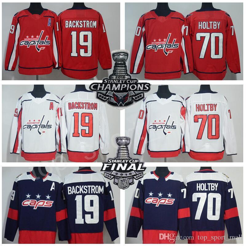 12eda96af 2019 Men Washington Capitals Hockey 19 Nicklas Backstrom Jerseys 70 Braden  Holtby Stadium Series Stanley Cup Champions Final Patch Blue Red White From  ...