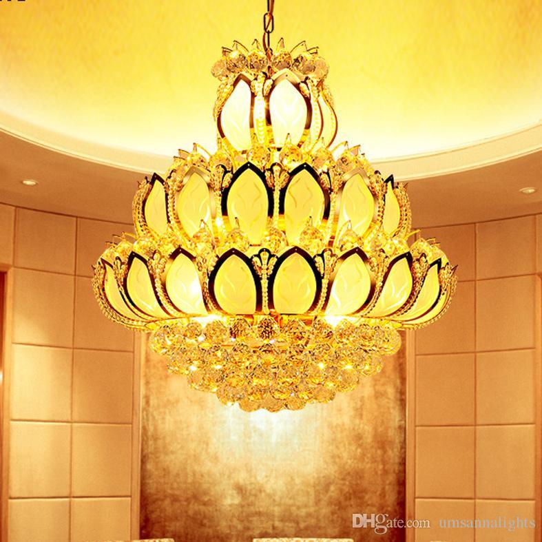 Modern Crystal Chandeliers Lighting Fixture Led Lights American K9 Golden Lotus Flower Chandelier Lamp Home 3 Year Warranty