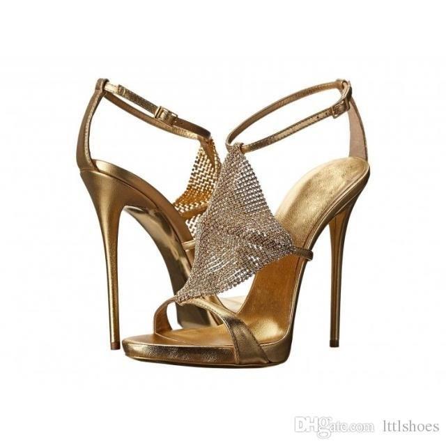 Heels High Sexy 2018 Silver Design Wedding Rhinestone Sandals Gold Pumps Stilettos Women New Ladies Shoes Party Bronze cAR354jLq
