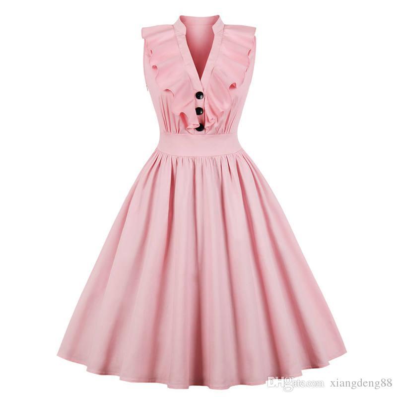 sale retailer 68f4f 3fd06 Gli anni 50 elegante abito da donna rosa vintage signore senza maniche  stile Hepburn con scollo a V abito da sera plus size a-line abito estivo  nuovo