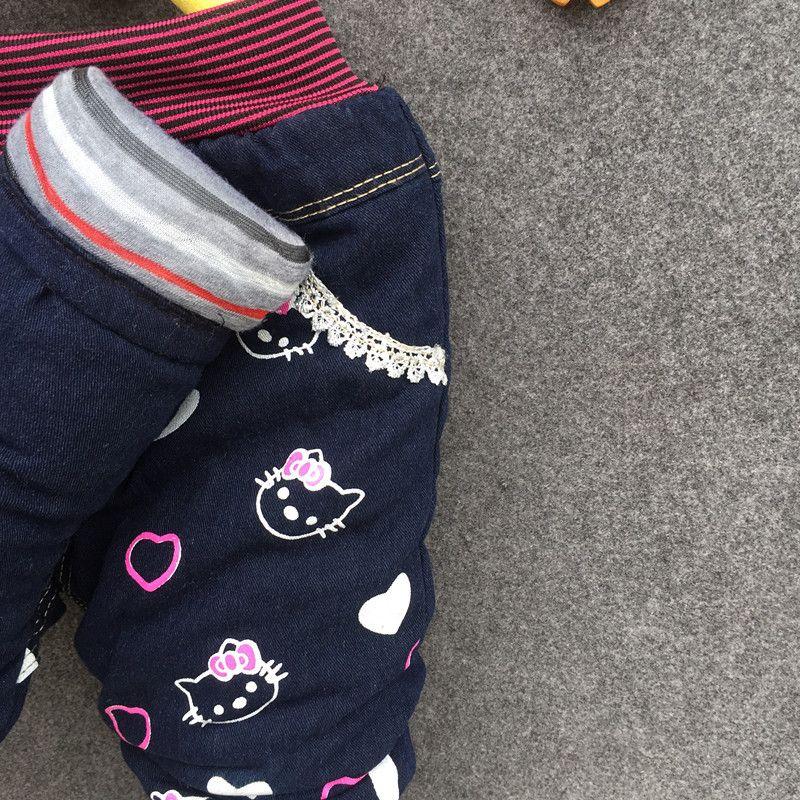 Kinder Jeans Winter Schöne Katze Kinder Hosen Casual trouses Baby Mädchen Jeans Niedlichen Cartoon-Muster 1-5years