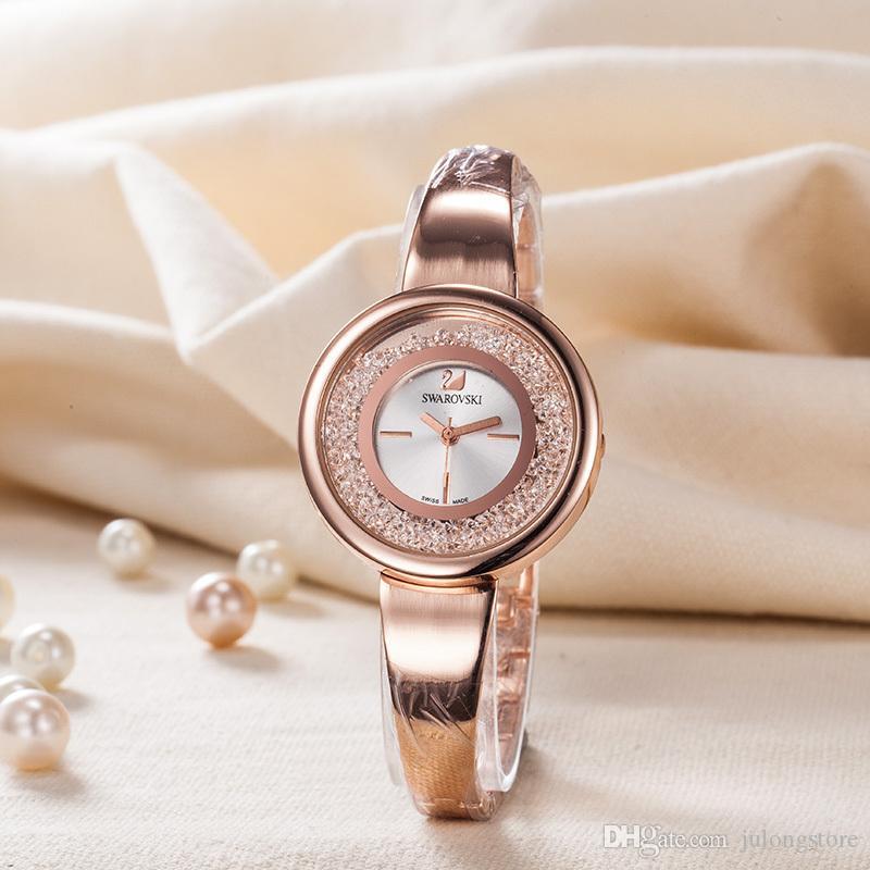 De Dames Bracelet Femmes Qualité Montre Luxe Haute Bande Diamant Pierre Coulée Pour Big Swarovski Montres Bang fg67yb