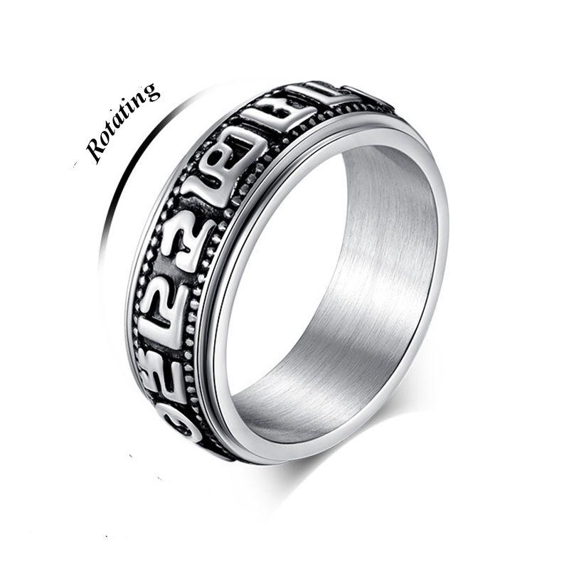 Steel Tibetan Buddhism Om Mani Padme Hum Rotating Ring For Women Lucky Rings Buddhist Ring Change Of Luck Men Bff