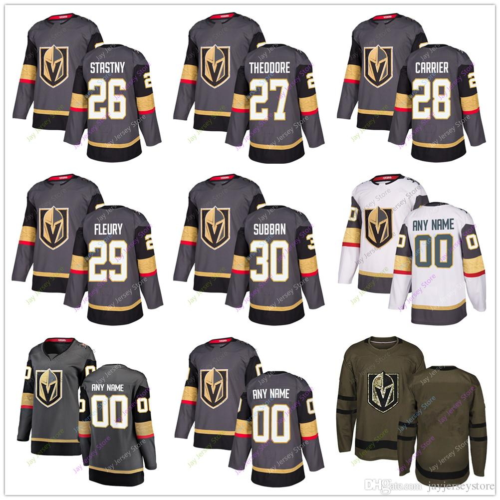 super cute 8478e 1bd7a Paul Stastny Shea Theodore William Carrier Marc-Andre Fleury Jersey 2019  Vegas Golden Knights Home Away New Third Women Youth Salute to Serv