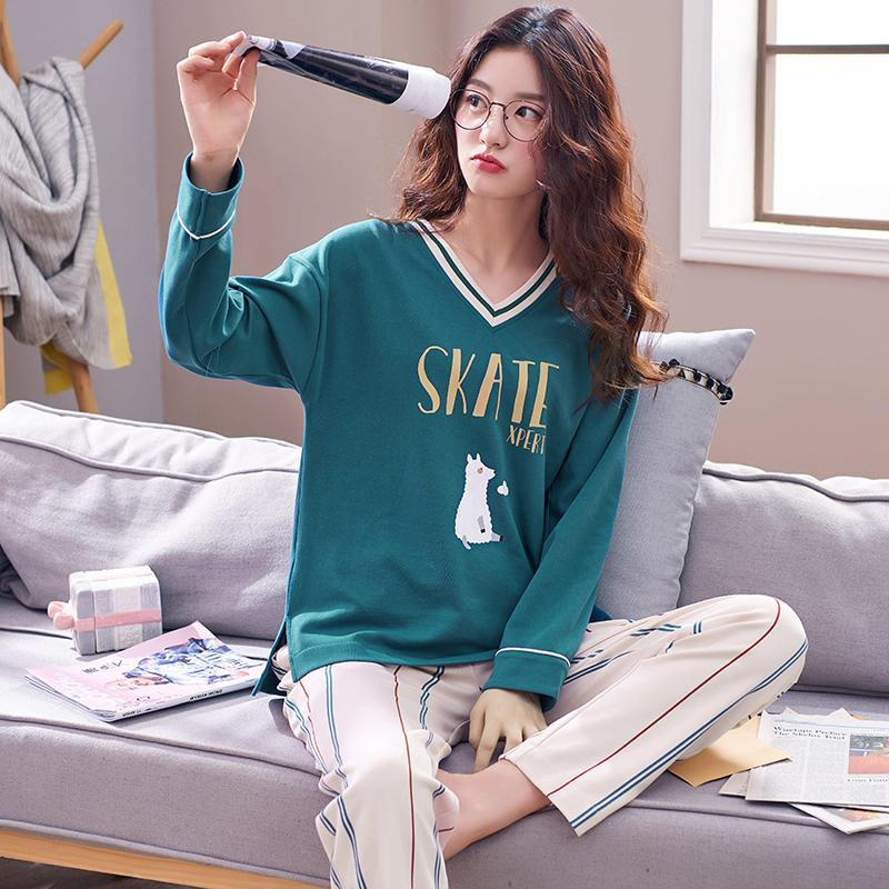 2019 100% Cotton V Neck Pajamas Sets For Women Spring Autumn Long Sleeve  Pyjamas Lounge Striped Pants Sleepwear Pijama Mujer Homewear From  Instrumenthome ee07e546e