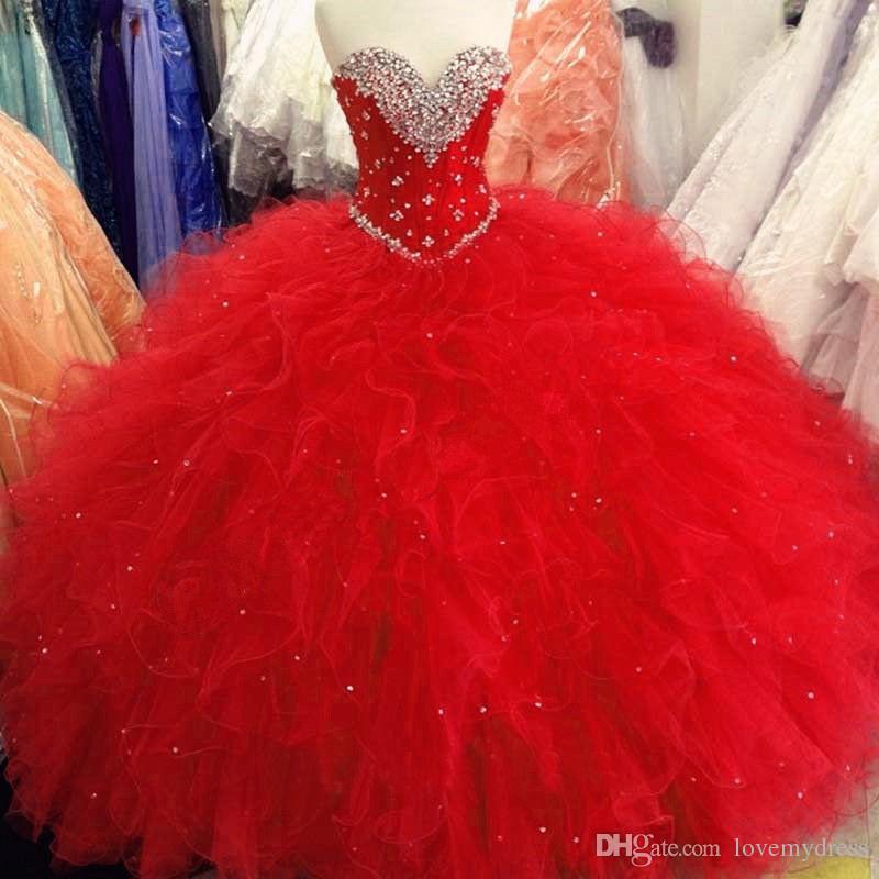 b25af06ad2 Compre Rojo Barato Quinceañera Prom Vestidos Ruffles 2019 Vestido De Bola  Tulle Rhinestones Sweet 16 Vestido Para Niñas Corset Vestidos 15 Anos A   116.59 ...
