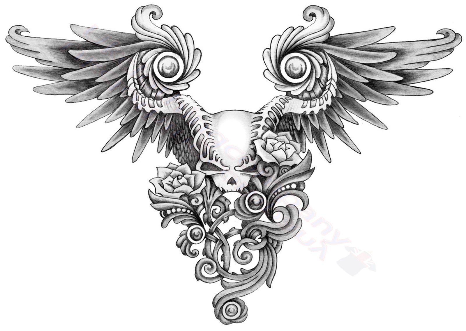 Skull Wings Roses Tattoo Design T Shirt Women Mens S M L Xl 2xl 3xl