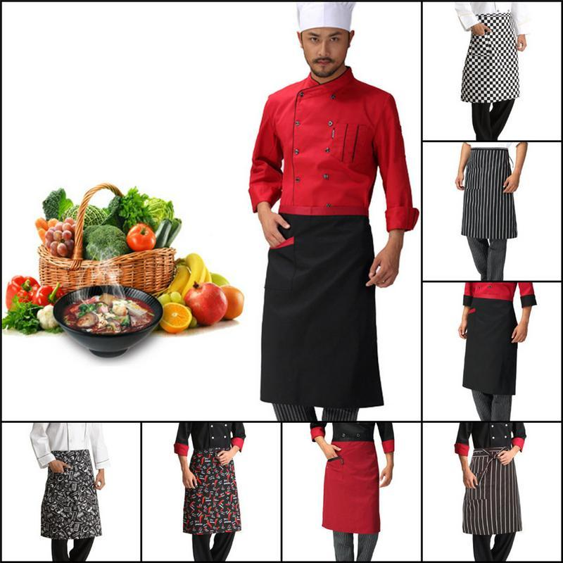 Wholesale Adjustable Half Body Male Adult Apron Striped Hotel Restaurant Chef Waiter Apron Customized Short Kitchen Cook