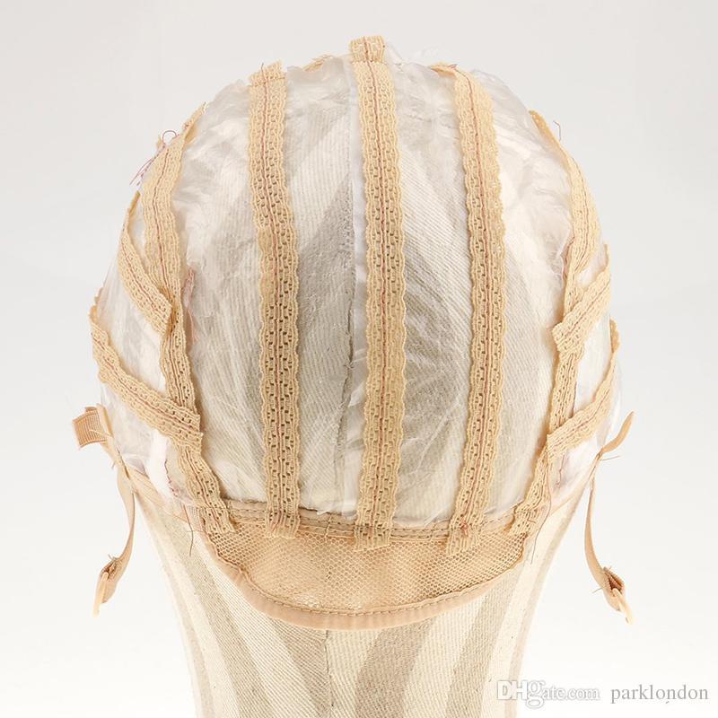 Perückenkappen für die Herstellung von Perücken einstellbare Riemen zurück Schweizer Spitze voller Vorderseite Spitze Perücke Kappe Perücke Weiggewebe Net Haarverlängerung Hotsale