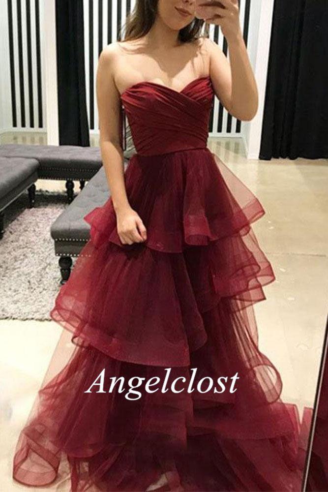 Splendida Dusty Red Prom Dresses 2018 Sweetheart collo a strati Organza Gonne abiti da sera formale Sexy Cocktail Party usura laurea