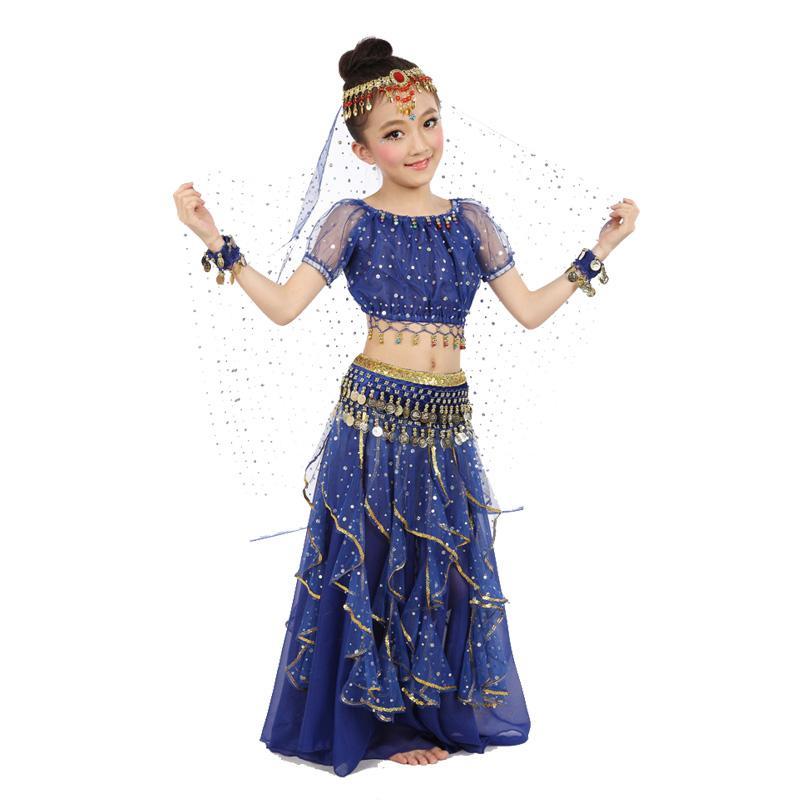 c3192fdfc808 Acquista Nuovo Stile Bambini Costume Di Danza Del Ventre Costumi Di Danza  Orientale Vestiti Di Danza Del Ventre Vestiti Indiani Bambini 3 Pezzi   Set  A ...