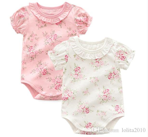 Newborn Baby Girl floral triangle Rompers Clothes 2018 Girls short sleeve cotton Infant Jumpsuit summer bodysuits for 0-12M baby