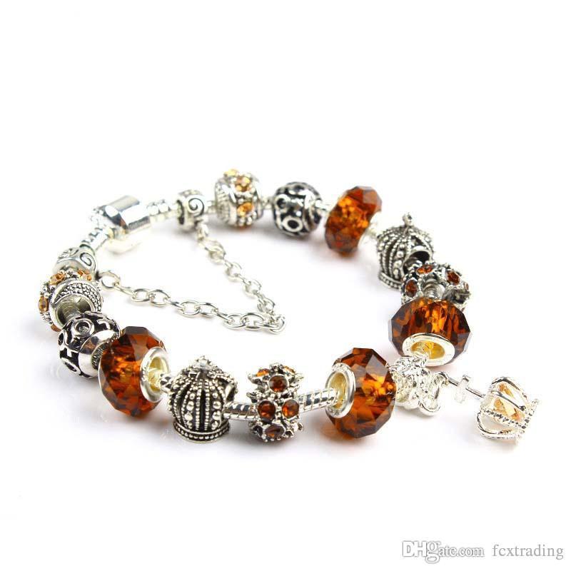 18 19 20 21CM Charm Bracelet 925 banhado a prata pulseiras Pandor Royal Crown acessórios roxo Crystal Bead Diy jóias de casamento com caixa