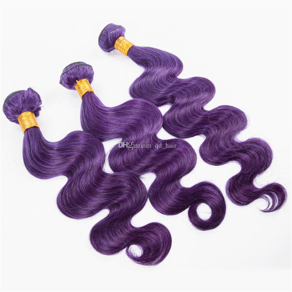Pretty Purple Color Human Hair 3Bundles Unprocessed 100 Virgin body wave Color Hair Weaves Exensions For Woman