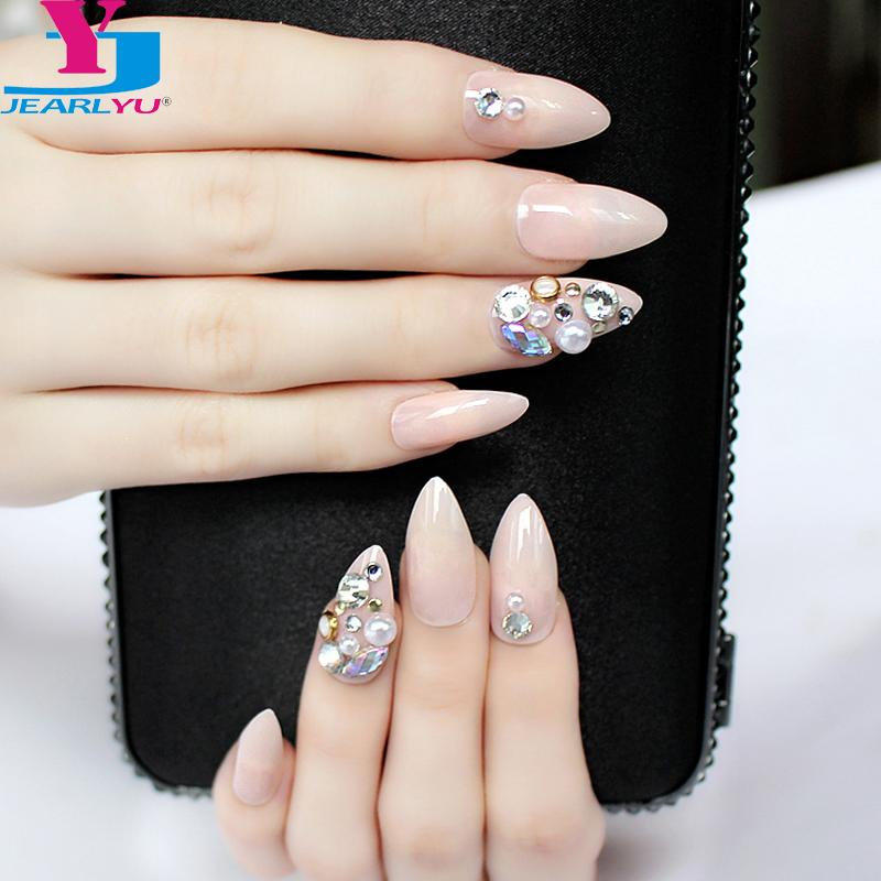 False Nails 3d Shiny Designs Full Nail Tips Crystal Pink Fake Nails
