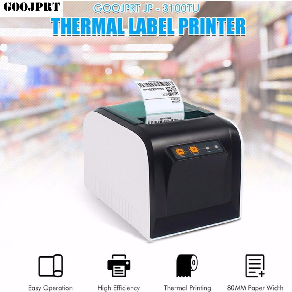 Goojprt jp 3100tu thermal label printer 80mm sticker printing machine with usb serial port eu plug lazer printer mobile printer from athenal