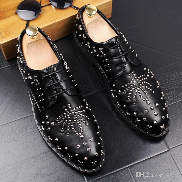 2018 New Style Man Fashion Galaxy Dance Shoes Men's Genuine Leather Rivets Wedding Party Flats Mens Casual Lace-Up Dress Business Shoe G89