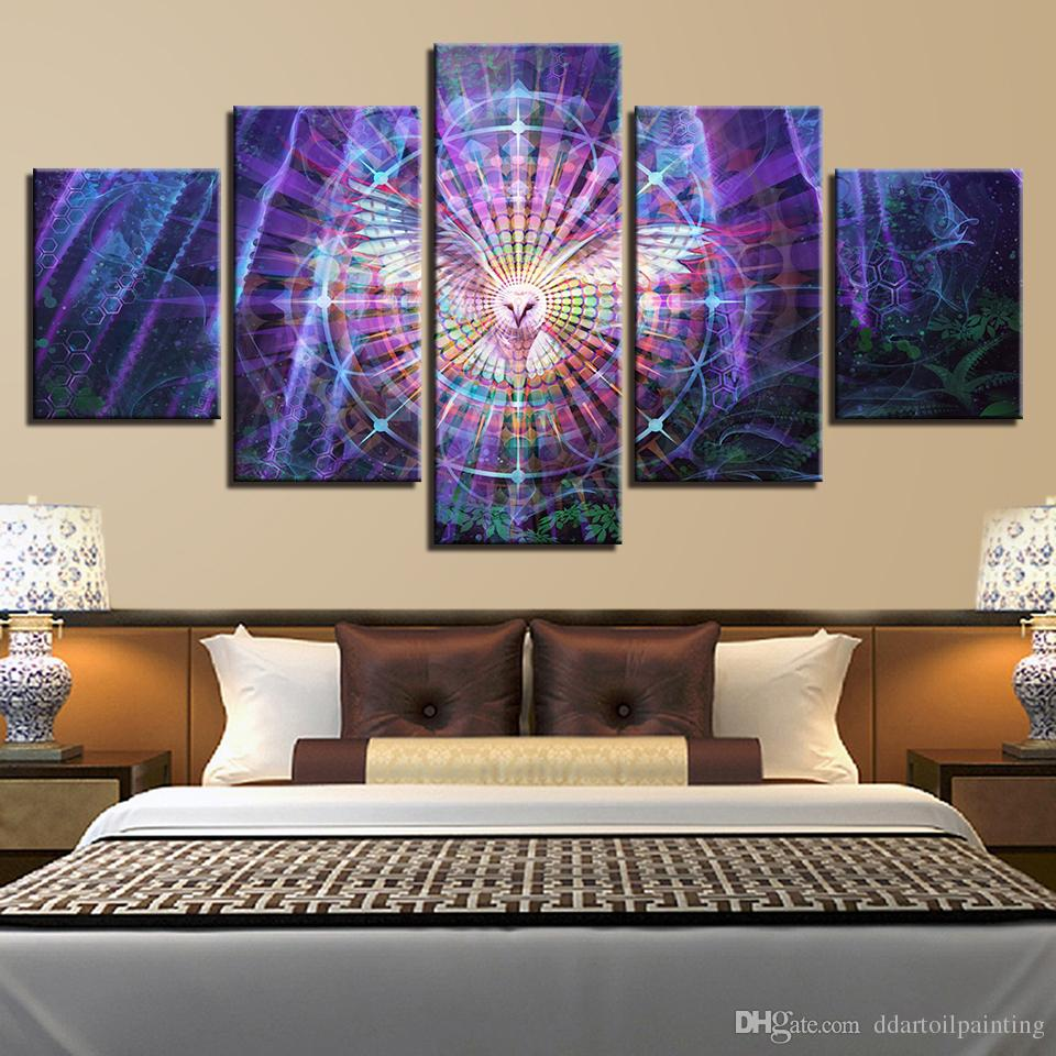 Psychedelic Kaleidoscope Owl Bird LARGE 5Panels Painting Giclee Prints for Children Room Home Decor interior No Frame