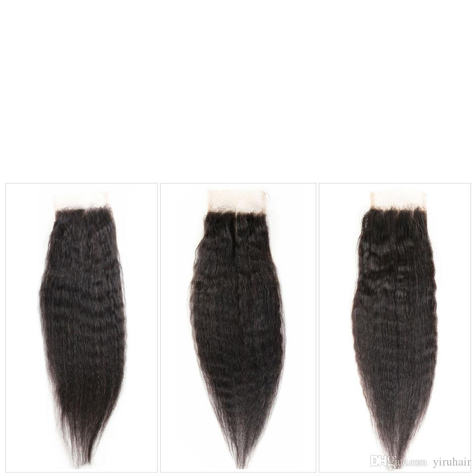 Malaysian Virgin Human Hair Yaki Straight Natural Color 8-28inch Bundles With 4 X 4 Lace Closure Middle Three Free Part