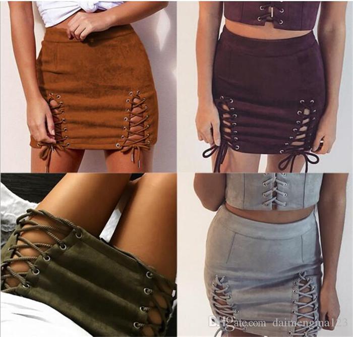 Compre Las Mujeres Atractivas Con Cordones De Gamuza De Cuero Faldas De La  Vendimia Cremallera Cruzada Dividir Mini Falda De Cintura Alta Bodycon Falda  ... aa8189df50c2