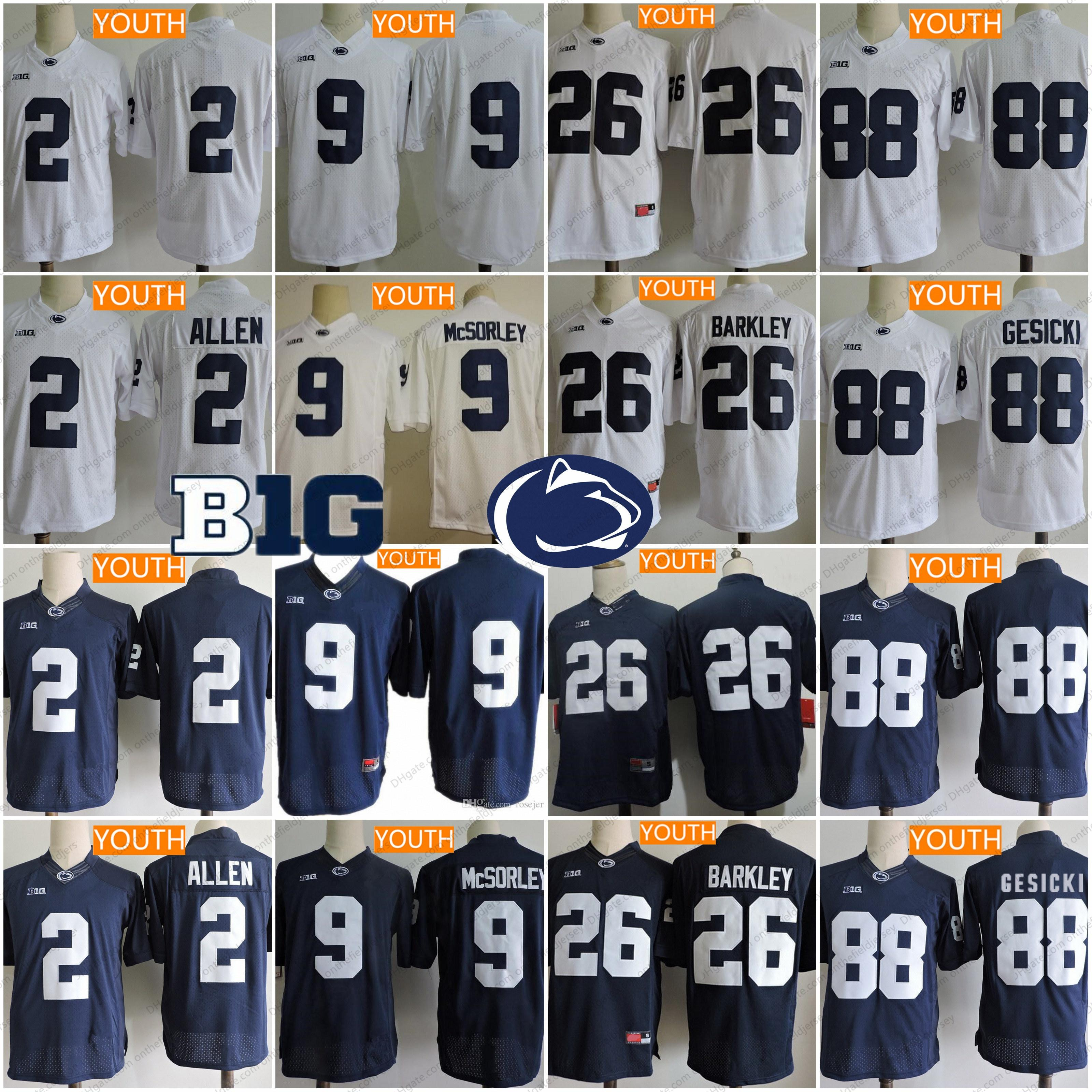20a70c4d4 2019 Penn State Nittany Lions Youth Kids  9 Trace McSorley 26 Saquon Barkley   2 Allen  88 Gesicki No Name Navy Blue White NCAA College Jerseys From ...